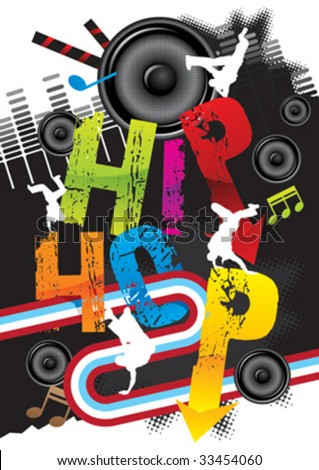 hiphop dance & music - stock vector
