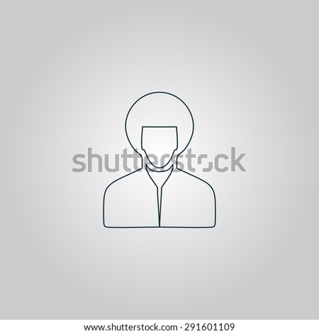 Hippi man. Flat web icon or sign isolated on grey background. Collection modern trend concept design style vector illustration symbol - stock vector
