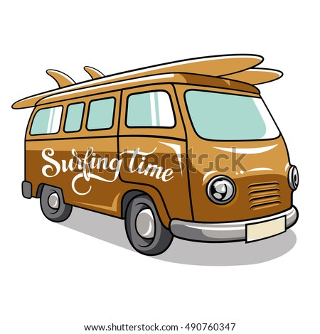Hippie Camper Van Vector Illustration Vintage