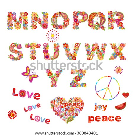 Hippie floral alphabet with funny colorful flowers. Part 2 - stock vector