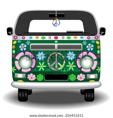 Hippie Groovy Van Peace and Love - stock vector