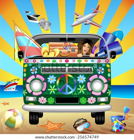 Hippie Groovy Van Traveling to the Beach - stock vector