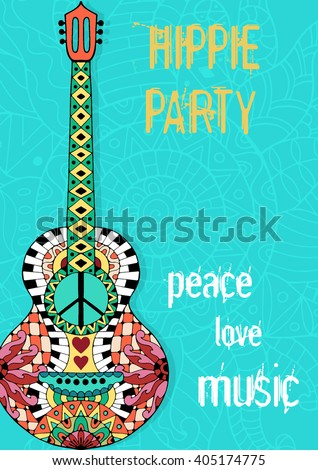 Hippie party poster. Hippy background with acoustic guitar. Gypsy ornamental design. Pacifism pattern. Illustration in zentangle style. - stock vector