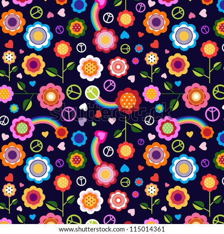 hippie peace floral background - stock vector