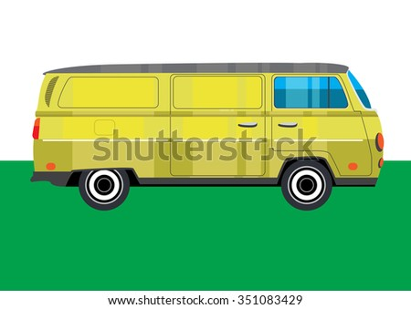 Hippie retro van on green background