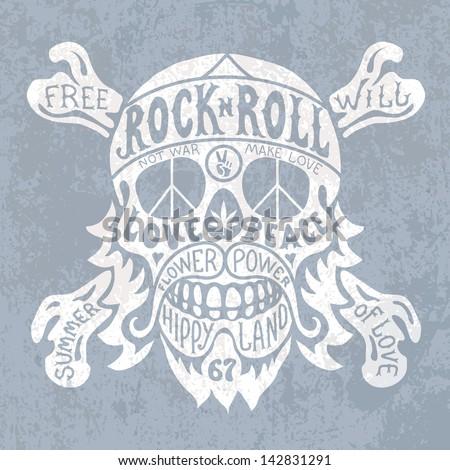 hippie skull - stock vector