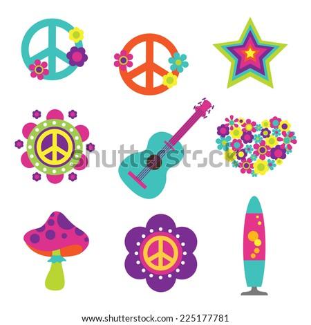 Hippie style art elements - stock vector