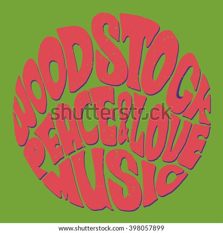 Hippie style Love and Music Retro 1960s 60s 70s Woodstock Music and Art Fair of rock festivals Woodstock became a symbol of the end of the hippie era and the beginning of the sexual revolution - stock vector