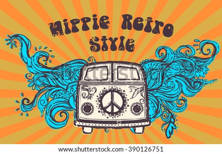 Hippie style. Ornamental retro background Love and Music with hand-written fonts hand-drawn doodle background and textures Hippy color vector illustration. Retro 1960s, 60s, 70s. We love hitchhiking!  - stock vector