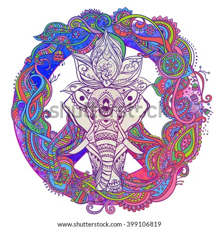 Hippie style. Ornamental retro background Love and Music with hand-written fonts hand-drawn doodle background and textures Hippy color vector illustration. Retro 1960s, 60s, 70s. Elephant ornate - stock vector