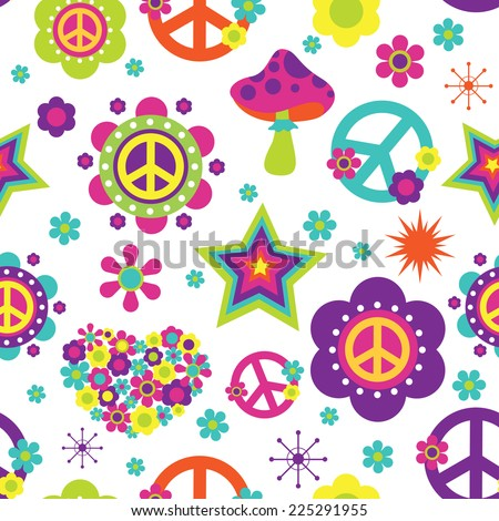 Hippie style psychedelic elements seamless pattern - stock vector
