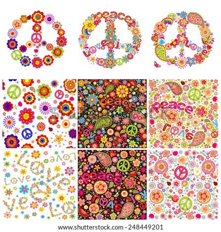 Hippie symbolic design - stock vector