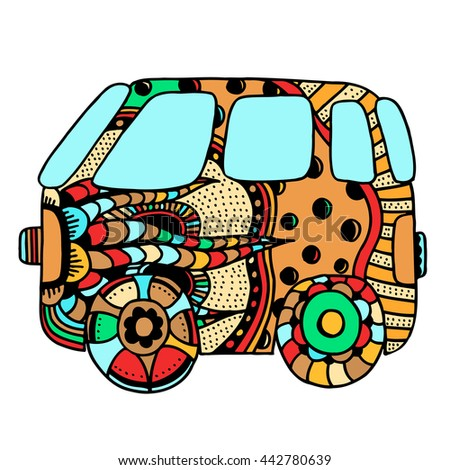 Hippie vintage car a mini van for adult anti stress. Coloring page with high details. Made by trace from sketch. Hippy color vector illustration. - stock vector