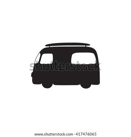 Hippie vintage car a mini van icon. Hippie bus logo. Hippy  vector illustration. Retro 1960s, 60s, 70s. Vintage classic camper van. - stock vector