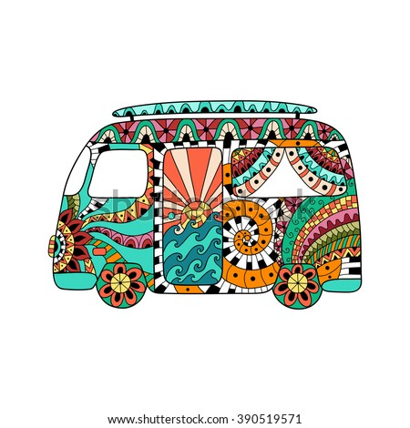 Hippie vintage car a mini van in zentangle style. Colorful hippie bus. Hippy color vector illustration. Retro 1960s, 60s, 70s. Ornamental background. Vintage classic camper van. - stock vector