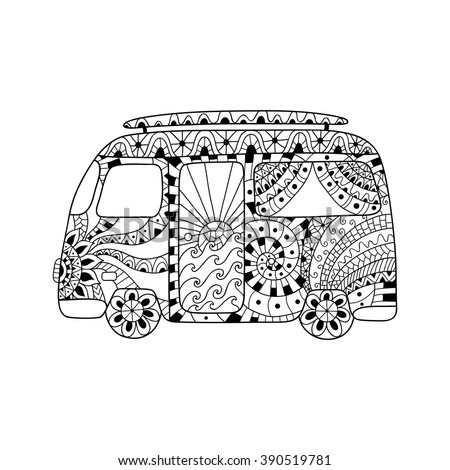Hippie Vintage Car A Mini Van In Zentangle Style For Adult Anti Stress Coloring Page