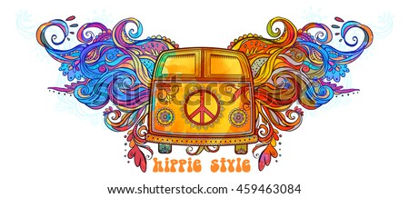 hippie vintage car mini van ornamental vectores en stock 459463084 shutterstock. Black Bedroom Furniture Sets. Home Design Ideas