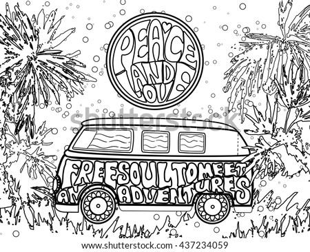 Hippie vintage car a mini van. Ornamental background. Love and Music with hand-written fonts. Adult Coloring book. . Hippy color vector illustration. Retro 1960s, 60s, 70s - stock vector