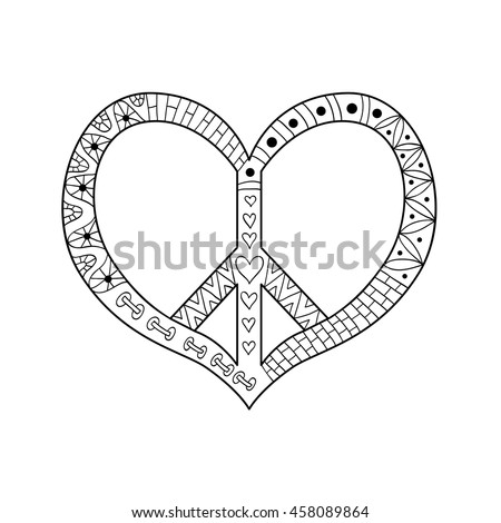 hippie vintage peace symbol in zentangle style for adult anti stress coloring page with high - Psychedelic Hippie Coloring Pages