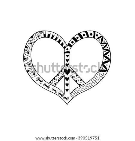 Hippie vintage peace symbol in zentangle style for adult antistress. Coloring page with high details. Pacific sign in heart's shape. Pacifism pattern. Hippy colorful vector. Retro 60s, 70s - stock vector