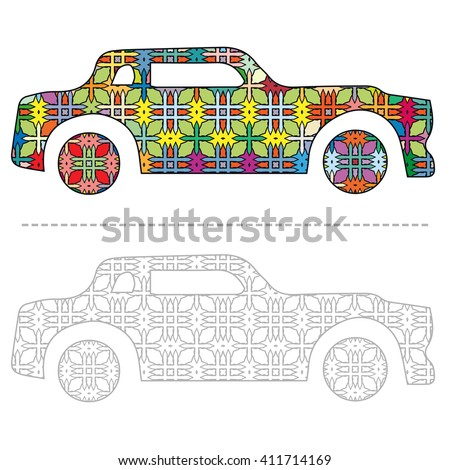 Hippie vintage retro car in zentangle style for adult anti stress coloring book. Ornate coloring page, black and white monochrom car for painting, vector illustration.  - stock vector