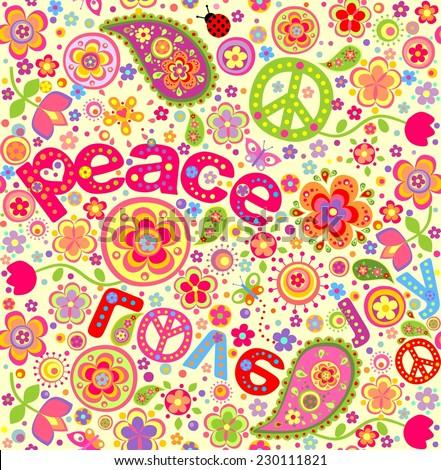 Hippie wallpaper - stock vector