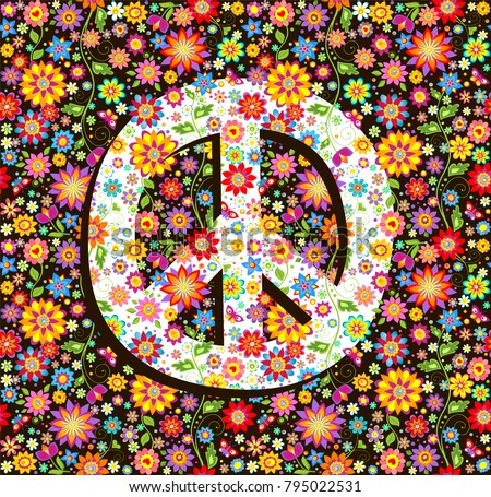 Hippie Wallpaper With Flowers Print And Peace Symbol