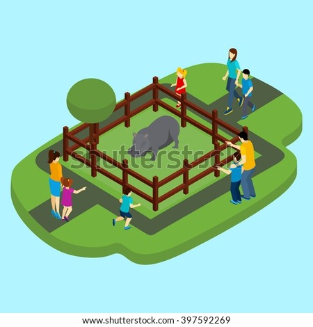 Hippo and zoo with fence and people on blue background isometric vector illustration  - stock vector