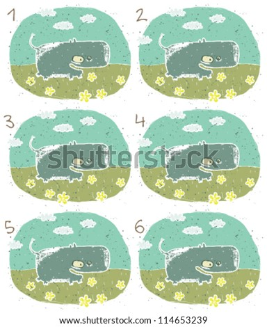 Hippo Puzzle ... Task: Find two identical images (match the pair)! ... Answer: No. 2 and 5 - stock vector