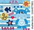hippo sailor background vector illustration - stock