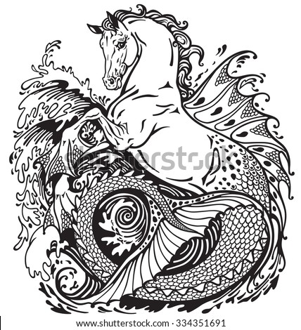 hippocampus or kelpie mythological sea-horse . Black and white illustration