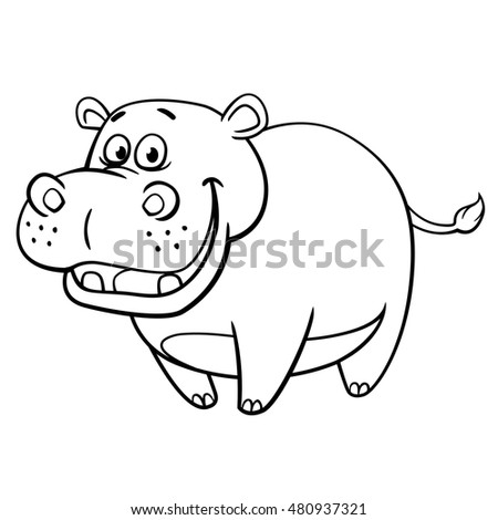 Hippopotamus cartoon style, vector art and illustration