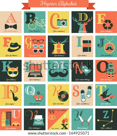 Hipster alphabet concept background with icons - stock vector