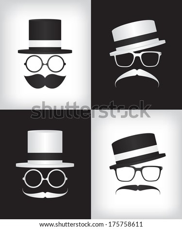 Hipster and gentleman illustration - stock vector