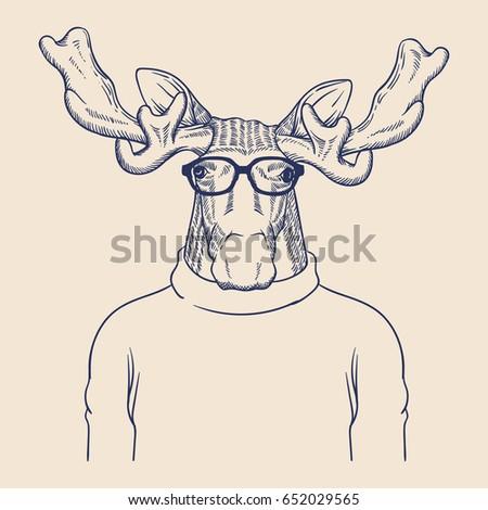 Hipster Animal Illustration Stock Vector 652029559