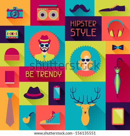 Hipster background in flat design style. - stock vector