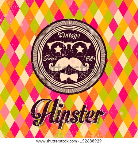 Hipster background made of triangles. Retro label design. Square composition with geometric shapes, color flow effect. Hipster theme label. Mustache