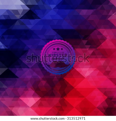 Hipster background made of triangles. Retro label design. Square composition with geometric shapes, color flow effect. Hipster theme label with mustaches - stock vector