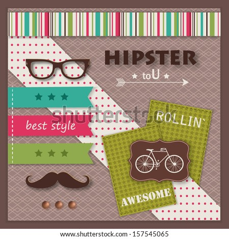 Hipster background with paper hipster icons and scrapbook elements. Modern creative handmade / paper craft design. This vector illustration can be used as greeting card or invitation. - stock vector