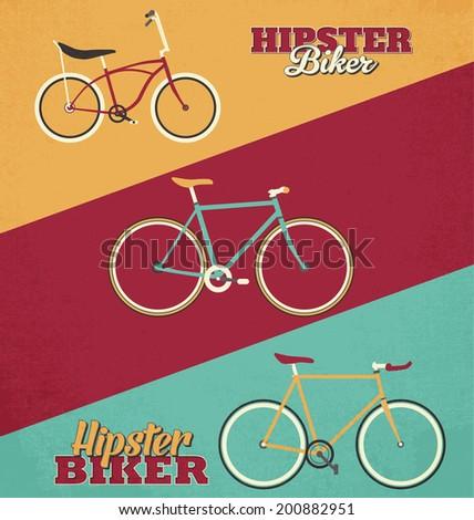 Hipster Bike Illustration Set - stock vector