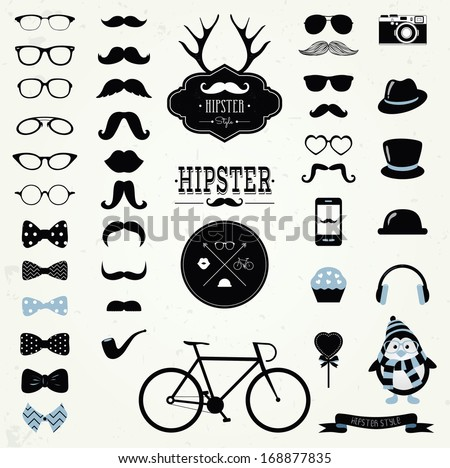 Hipster Black and White Retro Vintage Vector Icon Set, Mustaches, Hats, Badges, Labels, Bicycle Collection - stock vector
