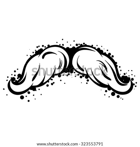Hipster black mustache in line art style. - stock vector