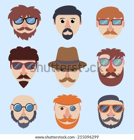 Hipster boy faces with beards and mustaches in sunglasses isolated vector illustration - stock vector