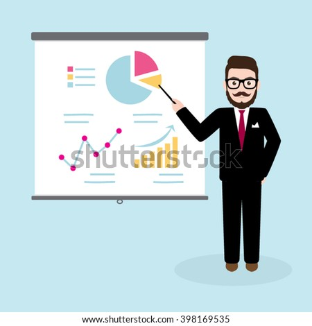 Hipster Businessman Giving a Presentation - stock vector