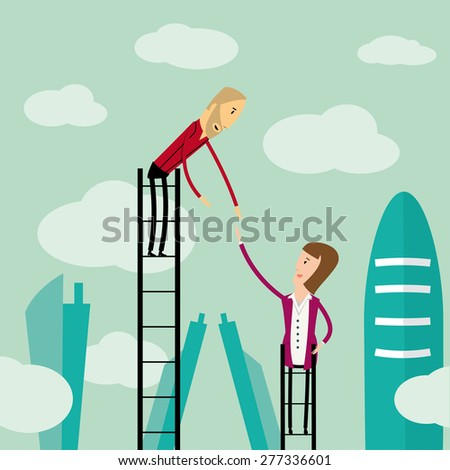Hipster businessman helping woman to climb up a ladder - stock vector