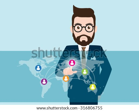 Hipster Businessman touching screen, world communication - stock vector