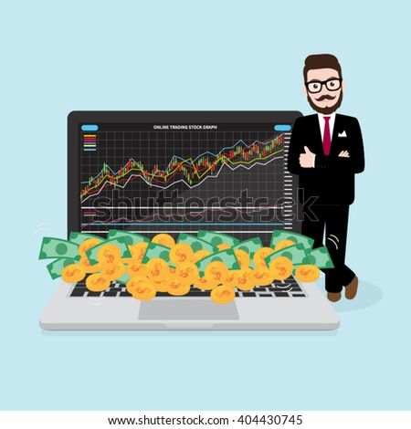 Hipster Businessman with Money from Online Stock Market Trading - stock vector