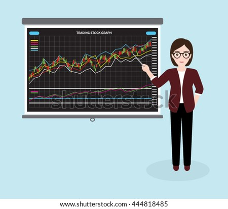 Hipster Businesswoman Giving Presentation about Stock Market Investment Trading, Candle Stick Graph
