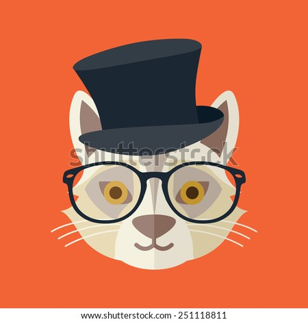 Hipster cat vector illustration - stock vector