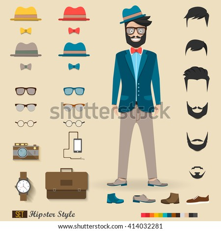 Hipster character design with hipster elements and icons set. Vector illustration - stock vector